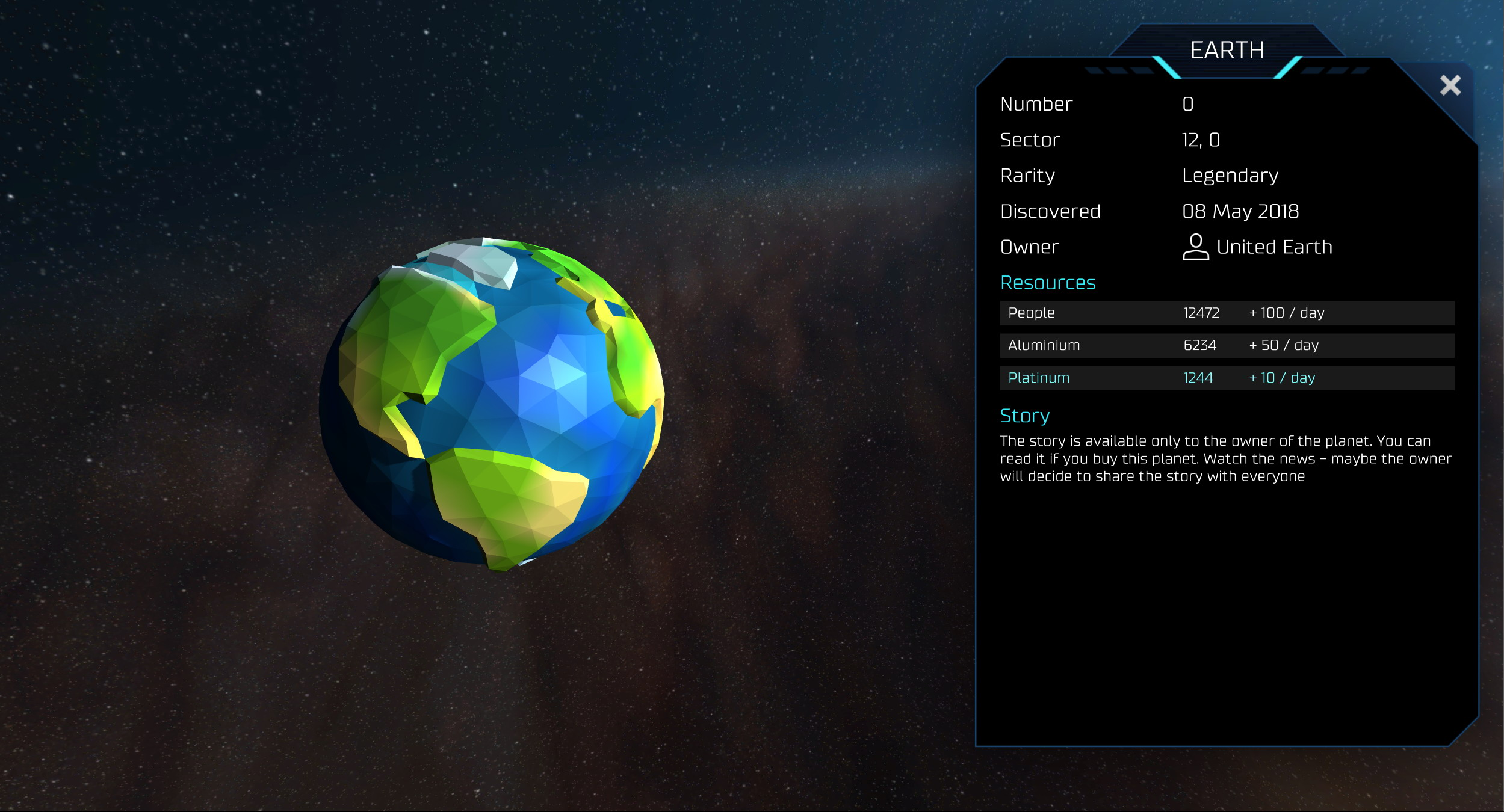 0xUniverse Screenshot Earth